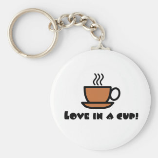 Love in a Cup Basic Round Button Keychain