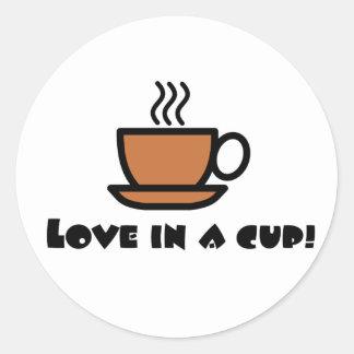 Love in a Cup Round Sticker