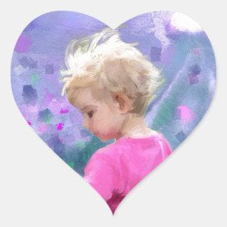 Love in a purple field.jpg heart sticker