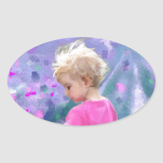 Love in a purple field.jpg oval sticker