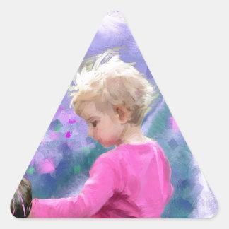 Love in a purple field.jpg triangle sticker