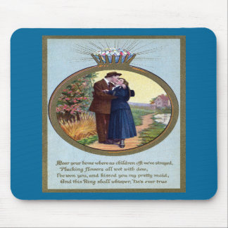 Love in a Ring Vintage Romance Mouse Pad