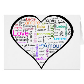 Love in all languages Heart Card