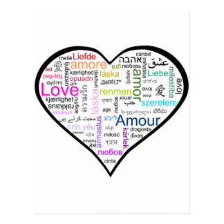 Love in all languages Heart Postcard