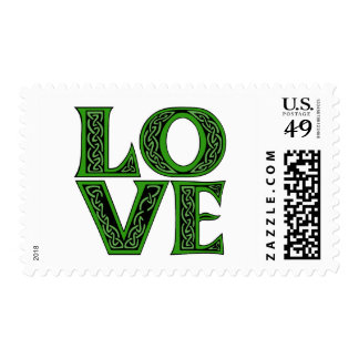 Love in an Irish Celtic Font Postage