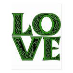 Love in an Irish Celtic Font Postcard