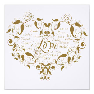 Love in Any Language Gold Anniversary Invitation