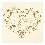 "Love in Any Language Gold Wedding Invitation 5.25"" Square Invitation Card"