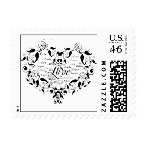 Love in Any Language in Black Postage