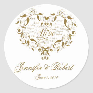 Love in any Language in Gold Envelope Seal Classic Round Sticker