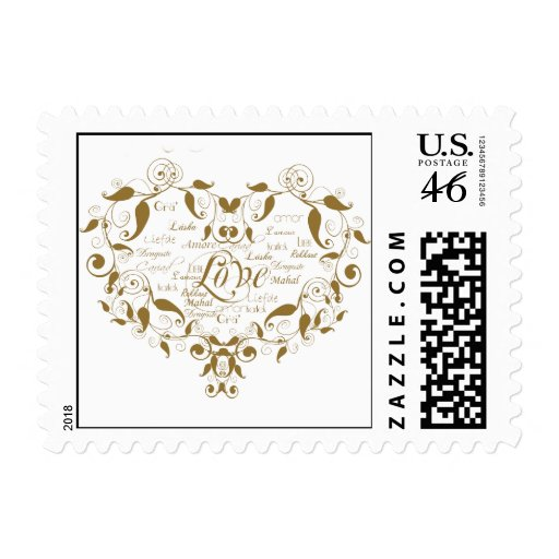 Love in Any Language in Gold Postage