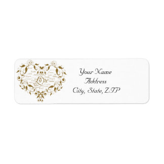 Love in any Language in Gold Return Address Label