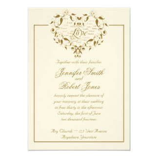 Love in Any Language in Gold Wedding Invitation