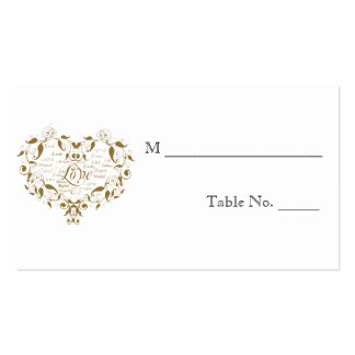 Love in Any Language in Gold Wedding Place Cards