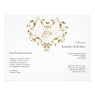 Love in Any Language in Gold Wedding Program Flyers