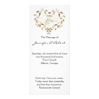 Love in Any Language in Gold Wedding Program Custom Rack Cards