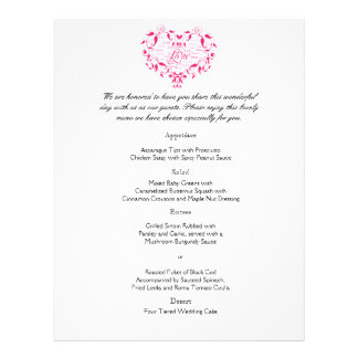 Love in Any Language in Hot Pink Wedding Menu Flyer Design