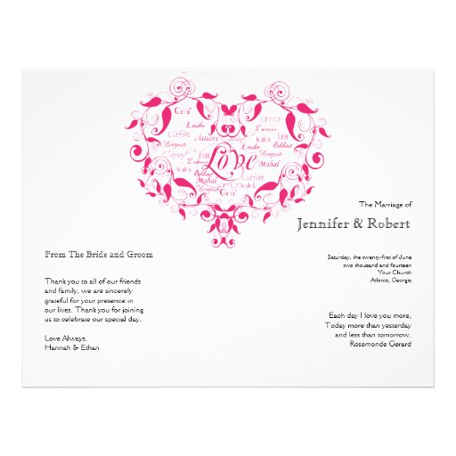 Love in Any Language in Hot Pink Wedding Program