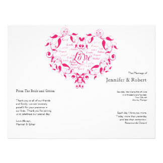 Love in Any Language in Hot Pink Wedding Program Personalized Flyer