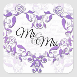 Love in Any Language in Lavender Heart Mr and Mrs Square Sticker
