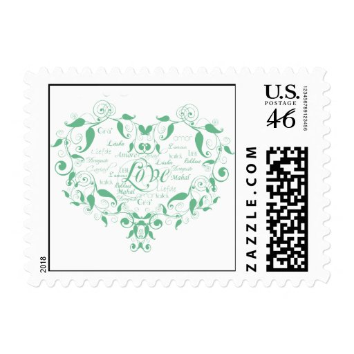 Love in Any Language in Mint Green Postage