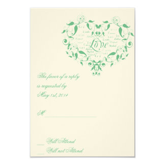 Love in Any Language in Mint Green Response card