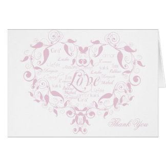 Love in any Language in Petal Pink Thank You card