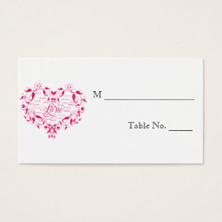 Love in Any Language in Pink Wedding Place Cards