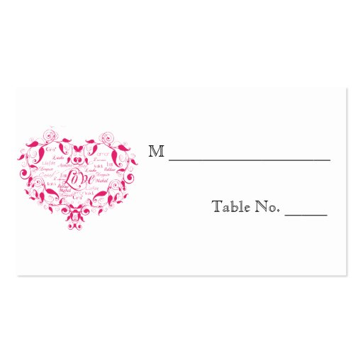Love in Any Language in Pink Wedding Place Cards Business Cards