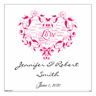 Love in Any Language in Pink Wedding Wall Cling Wall Skins