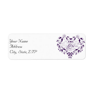 Love in Any Language in Purple Address Label