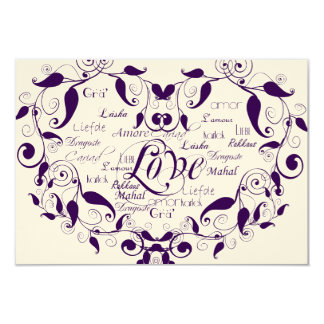 Love in Any Language in Purple Reception Card