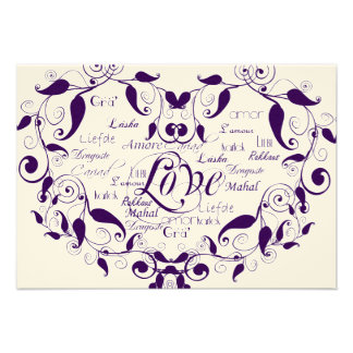 Love in Any Language in Purple Reception Card Custom Announcements