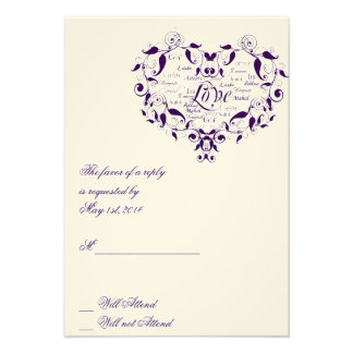 Love in Any Language in Purple Response card Custom Invitation