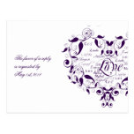 Love in Any Language in Purple RSVP Postcard
