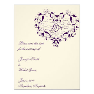 Love in Any Language in Purple Save the Date card