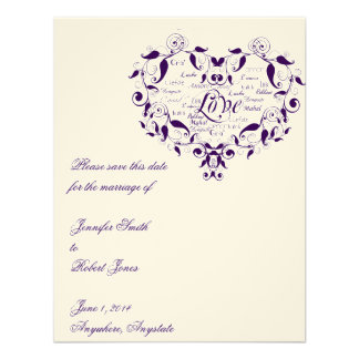Love in Any Language in Purple Save the Date card Personalized Invitations
