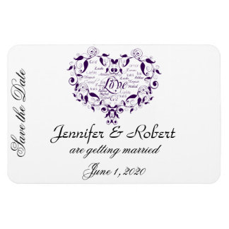 Love in Any Language in Purple Save the Date Magnet