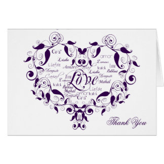 Love in any Language in Purple Thank You card