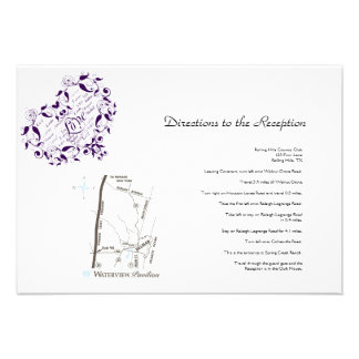 Love in Any Language in Purple Wedding Directions Invites