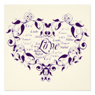 Love in Any Language in Purple Wedding Invitation