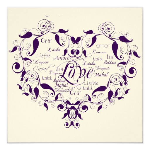 love in any language in purple wedding invitation zazzle With wedding invitations different languages