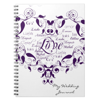 Love in Any Language in Purple Wedding Journal