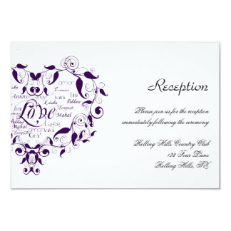 Love in Any Language in Purple Wedding Reception Card
