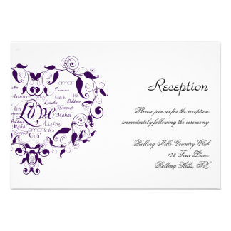 Love in Any Language in Purple Wedding Reception Custom Announcement