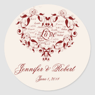 Love in any Language in Red Envelope Seal Classic Round Sticker