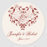 Love in any Language in Red Envelope Seal Round Stickers