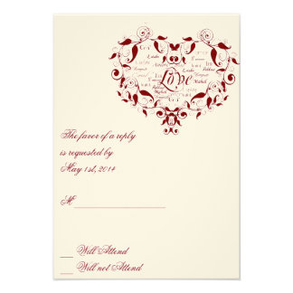 Love in Any Language in Red Response card Personalized Invitation