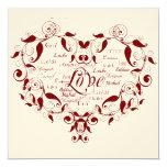 "Love in Any Language in Red Wedding Invitation 5.25"" Square Invitation Card"