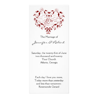 Love in Any Language in Red Wedding Program Rack Card Template